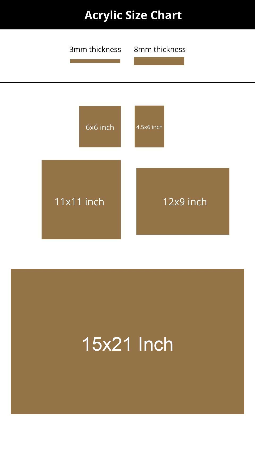 Acrylic Size Chart